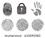 set of fingerprint vector flat... | Shutterstock .eps vector #610090583
