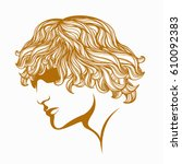 handsome guy with blonde  curly ... | Shutterstock .eps vector #610092383