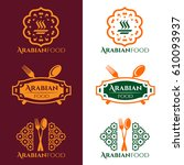arabian food and restaurant... | Shutterstock .eps vector #610093937