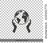 globe icon. two opened hands...   Shutterstock .eps vector #610101773