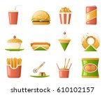 retro flat fast icons food... | Shutterstock .eps vector #610102157