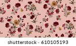 seamless floral pattern in... | Shutterstock .eps vector #610105193