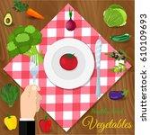fresh organic food. set of... | Shutterstock . vector #610109693