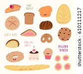 super cute set of pastry icons  ... | Shutterstock .eps vector #610111217