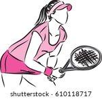 woman tennis player vector...   Shutterstock .eps vector #610118717