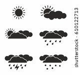 weather icon set black simple... | Shutterstock .eps vector #610122713