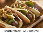 three bratwurst sausages with... | Shutterstock . vector #610136093