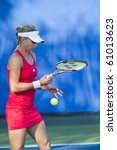 CARLSBAD, CA - AUGUST 05: Maria Kirilenko plays in a doubles match at the Mercury Insurance Open at La Costa Resort and Spa in Carlsbad, CA, on August 5, 2010. - stock photo