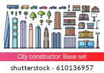 abstract city constructor in... | Shutterstock .eps vector #610136957