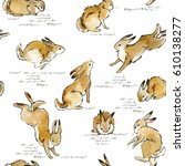 Stock photo cute bunny seamless pattern rabbit watercolor illustration 610138277