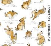 Stock photo cute bunny seamless pattern rabbit watercolor illustration 610138277