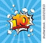 10th anniversary emblem. ten... | Shutterstock .eps vector #610151813