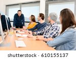 group of five young people... | Shutterstock . vector #610155137