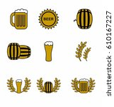 beer icons set. drink labels or ... | Shutterstock .eps vector #610167227