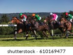 Stock photo horseraces in europe czechia jockeys on their horses 610169477