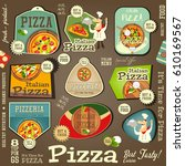 set labels for pizza. pizzeria... | Shutterstock .eps vector #610169567