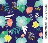fantasy flowers vector seamless ... | Shutterstock .eps vector #610170833