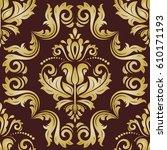 classic seamless vector golden... | Shutterstock .eps vector #610171193