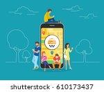 booking taxi online concept...   Shutterstock . vector #610173437