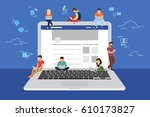 social network web site surfing ... | Shutterstock . vector #610173827