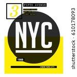 new york city typography  t... | Shutterstock .eps vector #610178093