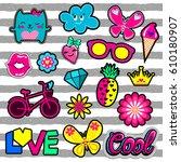 set of cute girlish stickers... | Shutterstock .eps vector #610180907
