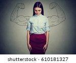 powerful girl reality vs... | Shutterstock . vector #610181327