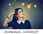 portrait thinking young woman... | Shutterstock . vector #610184237