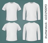 set of white blank t shirts.... | Shutterstock .eps vector #610190093