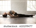 young attractive yogi woman... | Shutterstock . vector #610199477