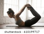 young attractive cool yogi... | Shutterstock . vector #610199717