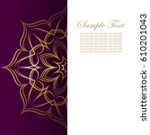 invitation card with golden...   Shutterstock .eps vector #610201043