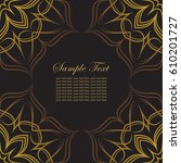 invitation card with golden... | Shutterstock .eps vector #610201727
