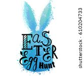 colorful blue bunny with... | Shutterstock .eps vector #610204733