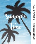 exotic summer vacation... | Shutterstock .eps vector #610225793