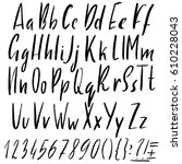 hand drawn ink simple font.... | Shutterstock .eps vector #610228043
