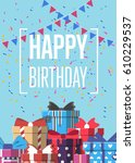 happy birthday greeting card... | Shutterstock .eps vector #610229537
