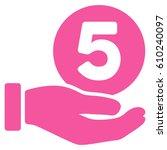 five cents payment hand glyph...   Shutterstock . vector #610240097