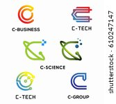 letter c   icon collection logo ... | Shutterstock .eps vector #610247147
