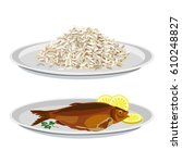 plates with rice and fried fish.... | Shutterstock .eps vector #610248827