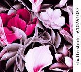 seamless tropical flower  plant ... | Shutterstock . vector #610261067