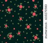 falling roses. seamless vector... | Shutterstock .eps vector #610270583