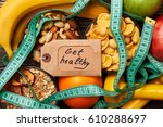 fruits  nuts  cereals and card. ... | Shutterstock . vector #610288697