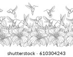 vector seamless border with... | Shutterstock .eps vector #610304243