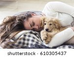 young pretty girl sleeps with... | Shutterstock . vector #610305437