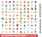 100 creative people icons set... | Shutterstock .eps vector #610322693