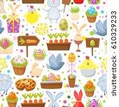 easter seamless background... | Shutterstock .eps vector #610329233