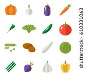 food icons set vegetables... | Shutterstock .eps vector #610331063