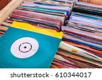 vintage vinyl turntable records ... | Shutterstock . vector #610344017