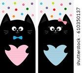 black cat kitty family holding...   Shutterstock . vector #610350137